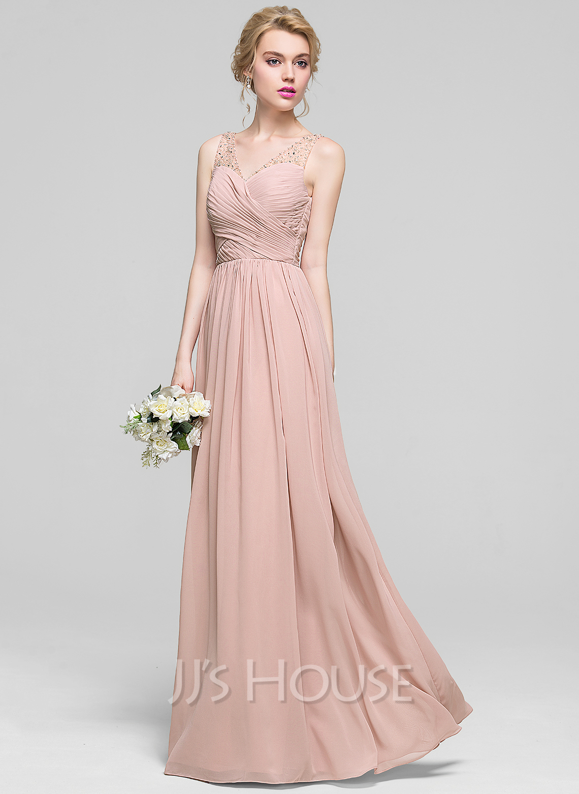 A Line Princess V Neck Floor Length Chiffon Bridesmaid Dress With Ruffle Beading Sequins