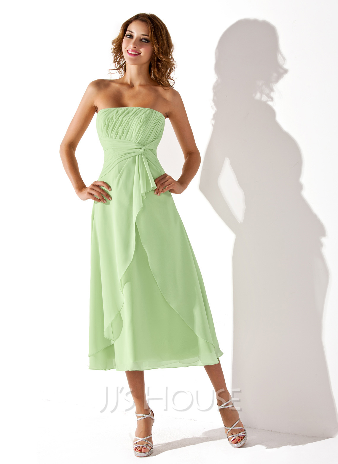 Empire strapless tea length chiffon bridesmaid dress with for Cascading ruffles wedding dress