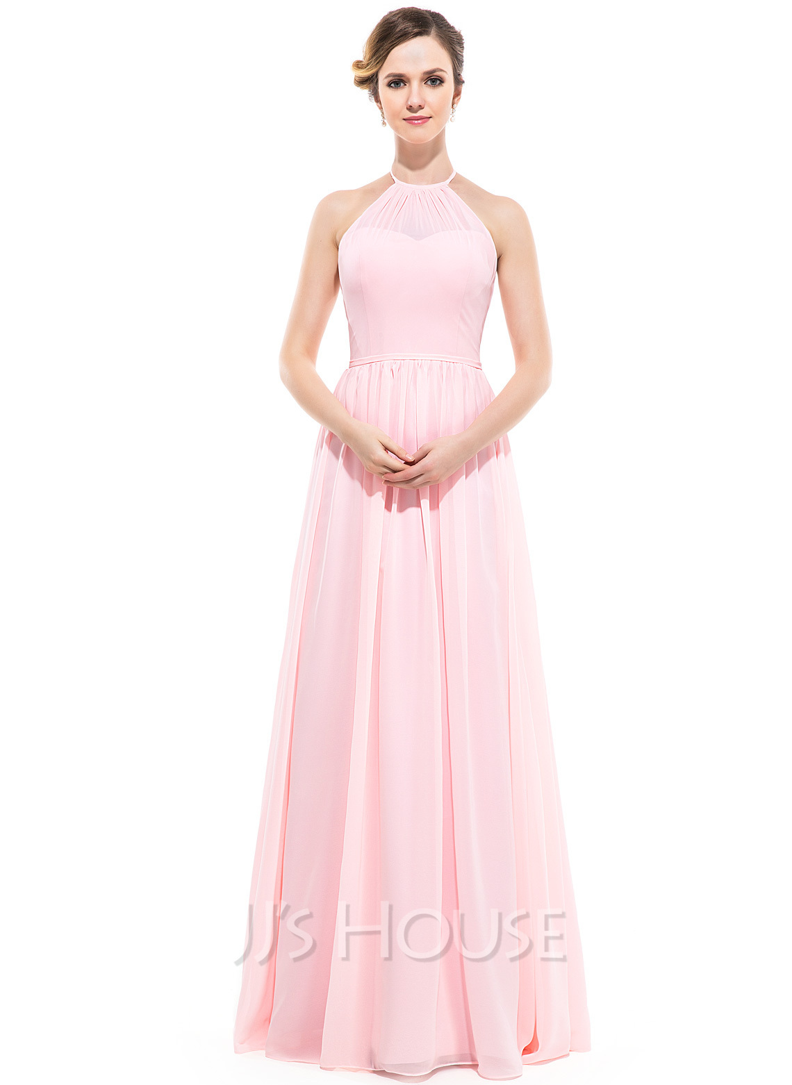 A line princess scoop neck floor length chiffon bridesmaid for Floor length dresses