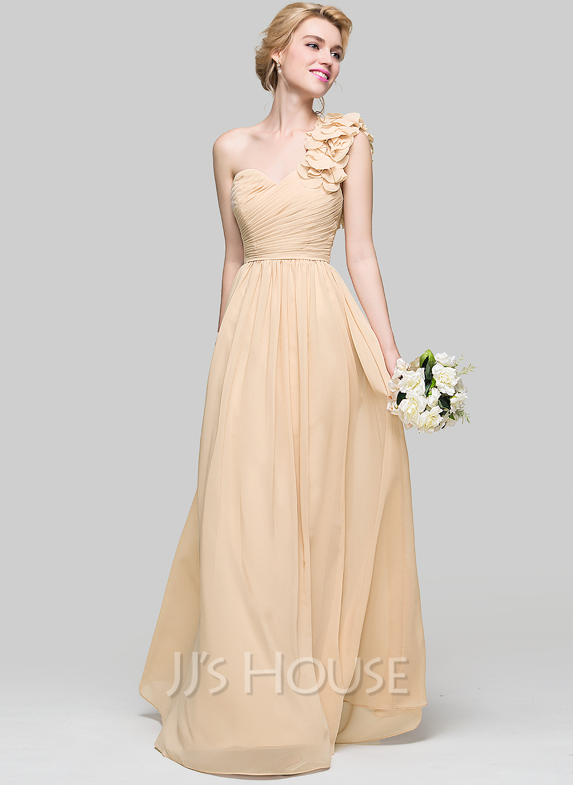 A line princess one shoulder floor length chiffon for Jj wedding dresses reviews