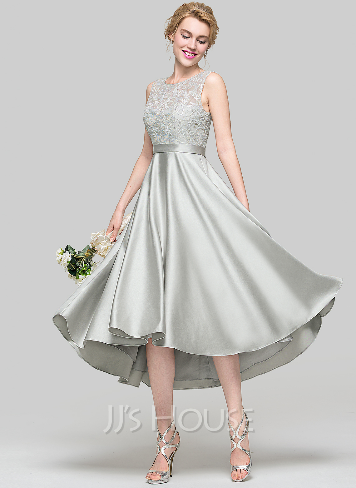 A line princess scoop neck asymmetrical satin bridesmaid for Jj wedding dresses reviews