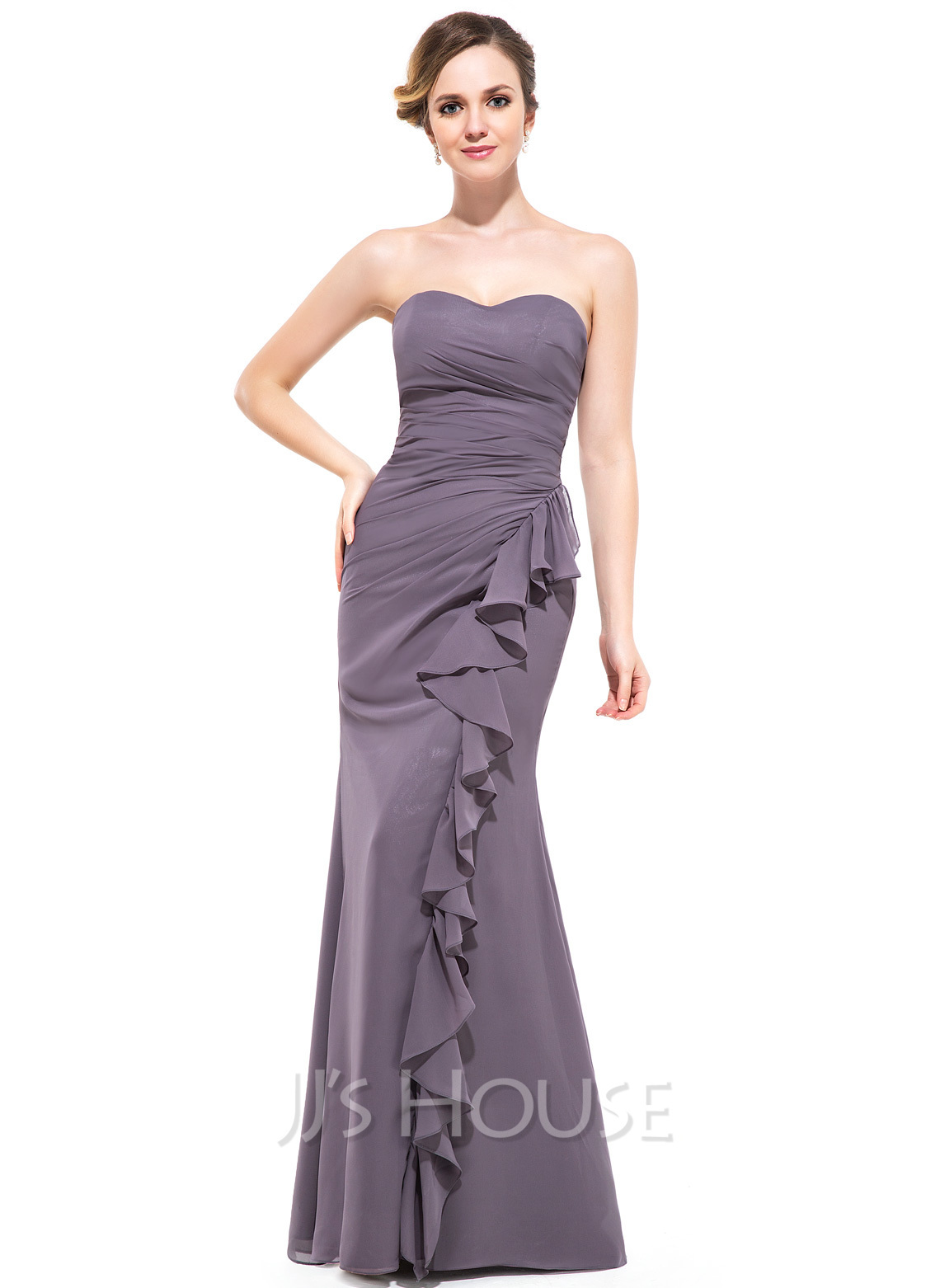 Trumpet mermaid sweetheart floor length chiffon bridesmaid for Cascading ruffles wedding dress