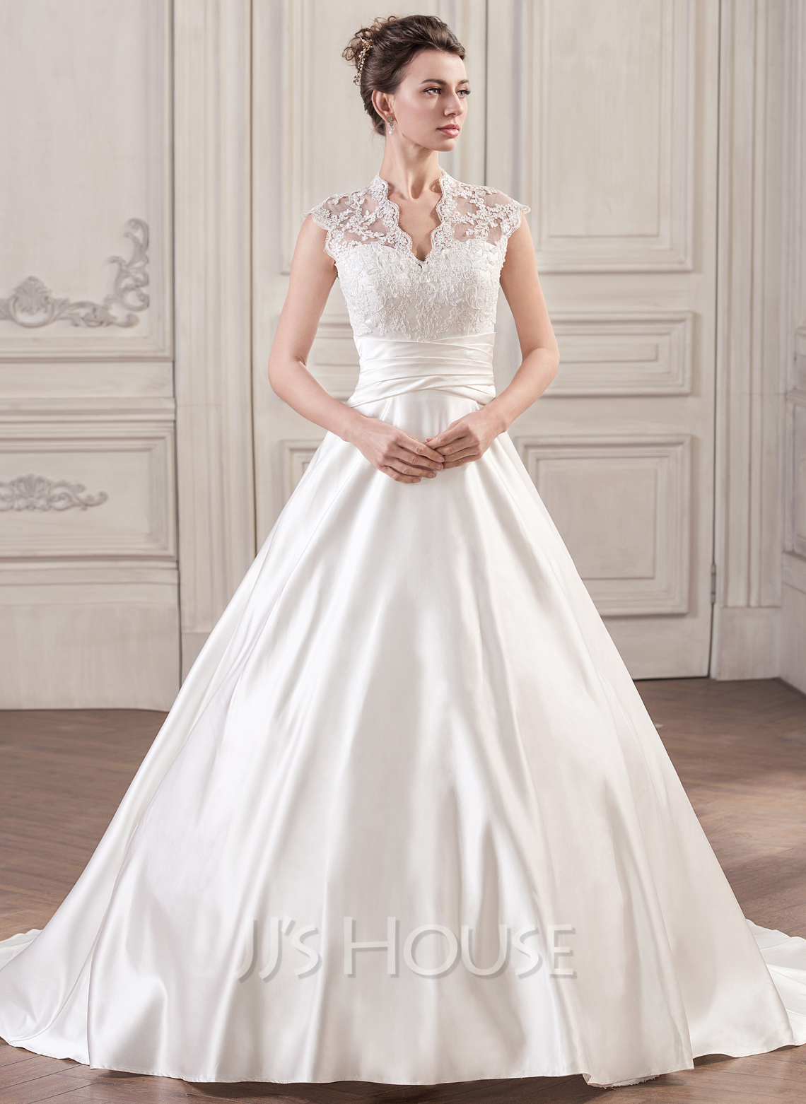 ball gown v neck court train satin lace wedding dress with ruffle