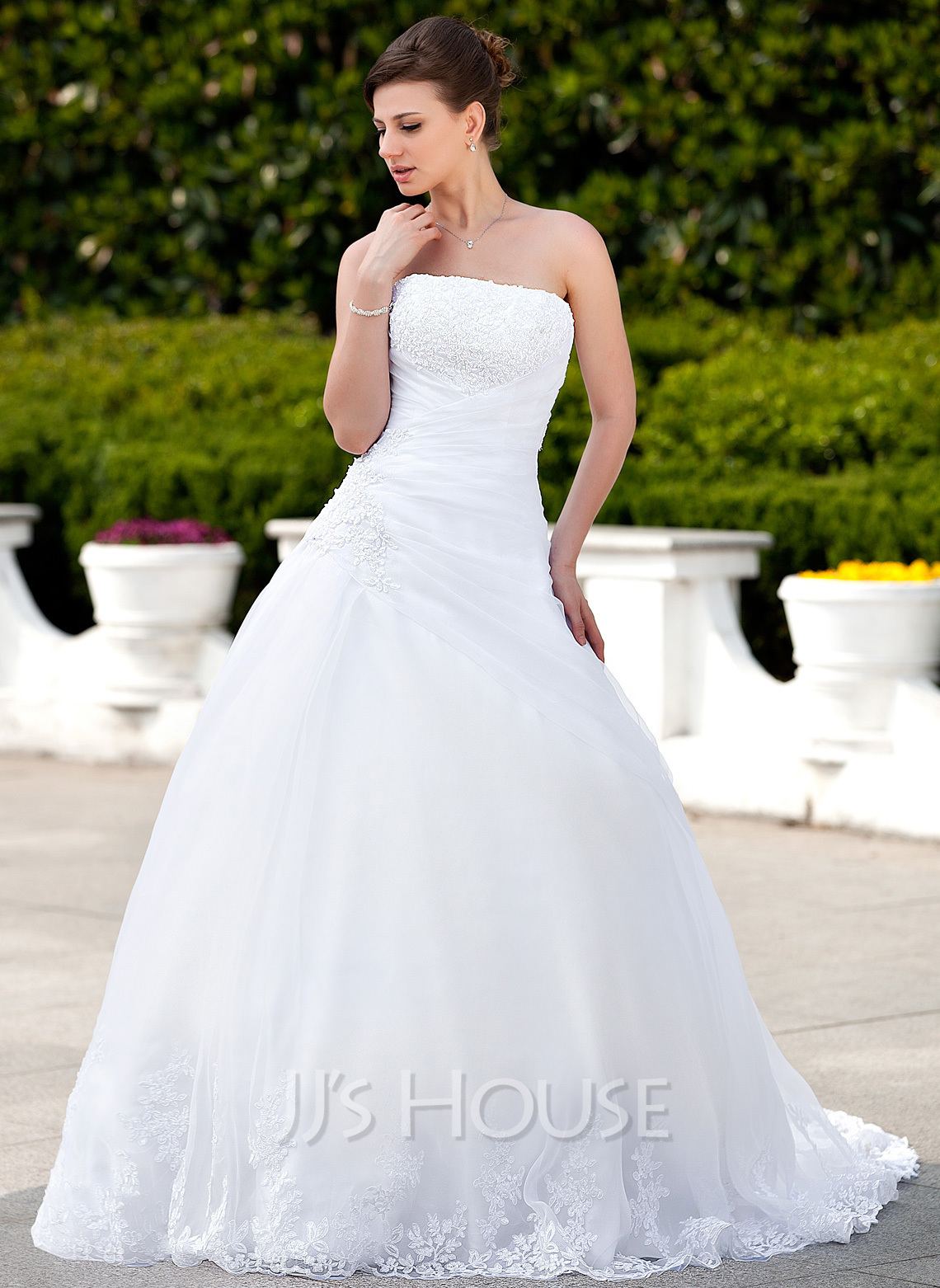Ball gown strapless chapel train satin organza wedding for Jjs house wedding dresses