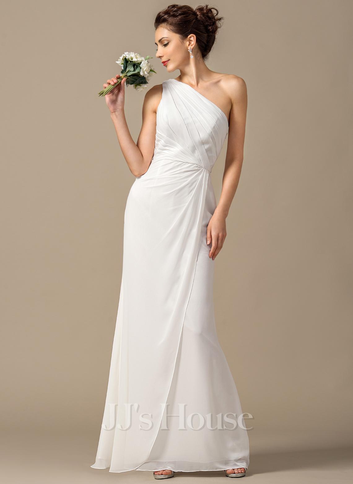 Sheath column one shoulder floor length chiffon bridesmaid for One shoulder wedding dress