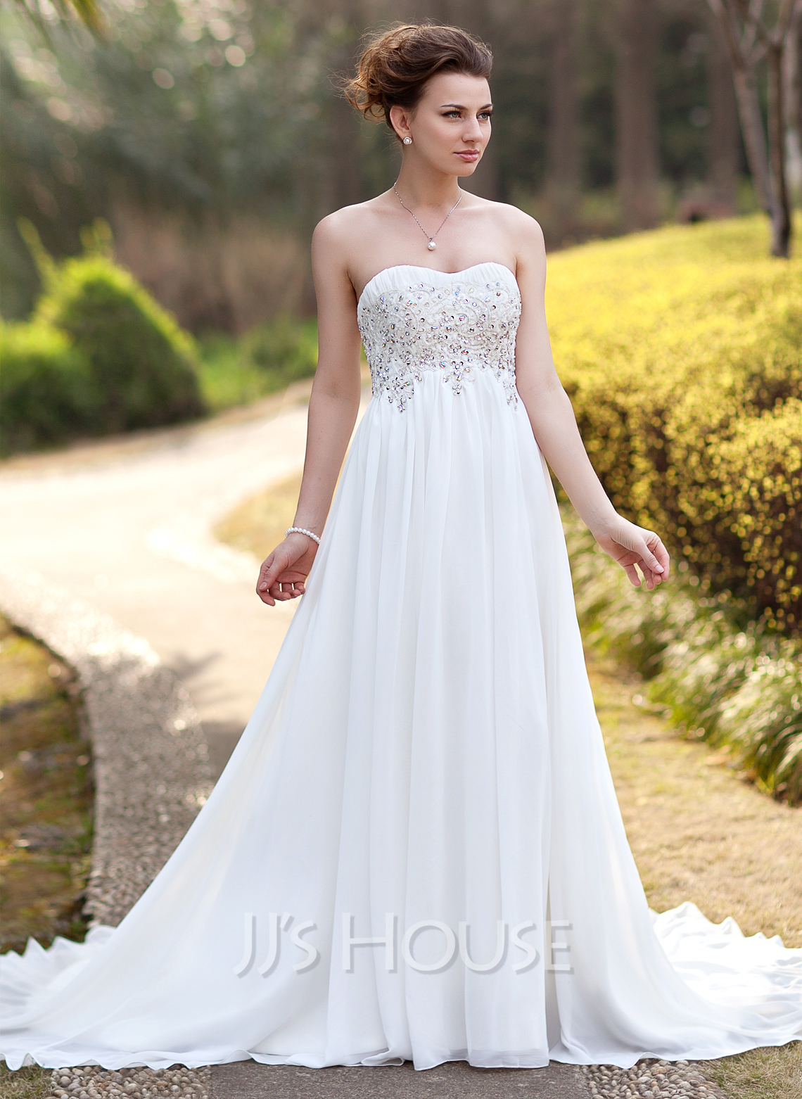 Empire sweetheart court train chiffon wedding dress with for Jj house wedding dress