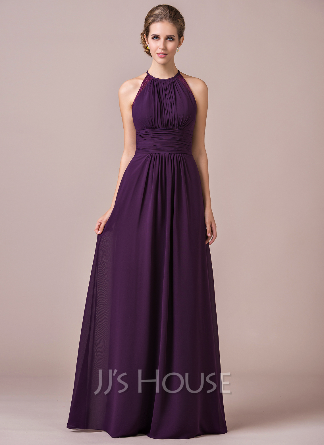 A line princess halter floor length chiffon bridesmaid for Floor length gowns