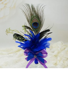 Classic Free-Form Ribbon/Feather Boutonniere