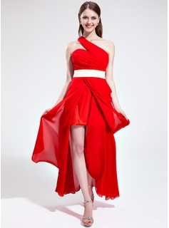 A-Line/Princess One-Shoulder Asymmetrical Chiffon Charmeuse Holiday Dress With Ruffle Sash