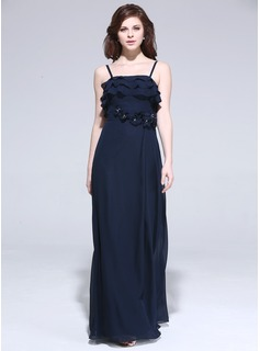 Sheath Floor-Length Chiffon Evening Dress With Beading Flower(s)