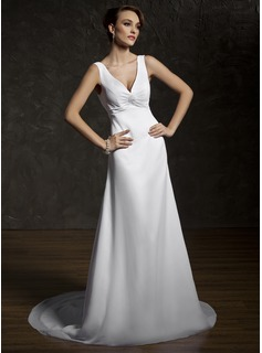 A-Line/Princess V-neck Court Train Chiffon Lace Wedding Dress With Ruffle Beadwork