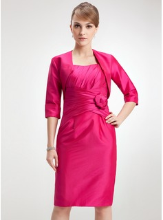Sheath Scoop Neck Knee-Length Taffeta Mother of the Bride Dress With Ruffle Flower(s)