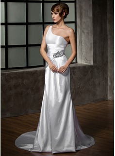 Sheath/Column One-Shoulder Court Train Charmeuse Wedding Dress With Ruffle Beading