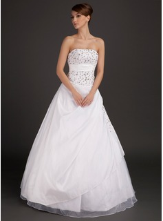 Ball-Gown Strapless Floor-Length Taffeta Organza Wedding Dress With Lace Beading