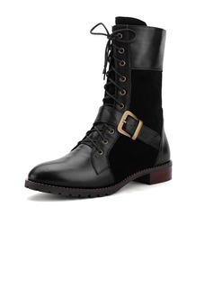 Real Leather Low Heel Mid-Calf Boots Martin Boots With Buckle shoes