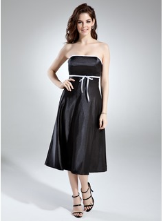 Empire Strapless Tea-Length Charmeuse Bridesmaid Dress With Sash Bow