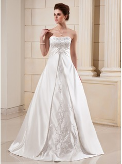 A-Line/Princess Sweetheart Chapel Train Satin Wedding Dress With Embroidery Beadwork