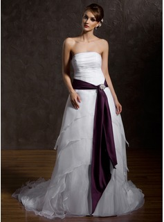 A-Line/Princess Strapless Court Train Organza Satin Wedding Dress With Ruffle Sash Crystal Brooch