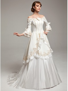 A-Line/Princess Off-the-Shoulder Sweep Train Taffeta Satin Wedding Dress With Lace Beadwork Flower(s)