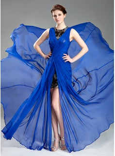 A-Line/Princess Scoop Neck Court Train Chiffon Evening Dress With Ruffle Lace (017019766)
