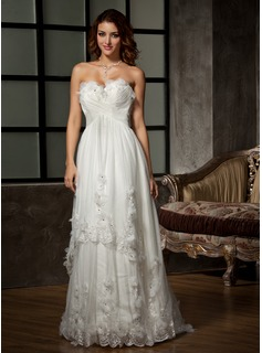A-Line/Princess Sweetheart Sweep Train Satin Tulle Wedding Dress With Ruffle Lace Beading Flower(s)