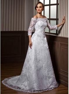 A-Line/Princess Off-the-Shoulder Court Train Satin Lace Wedding Dress With Lace Beadwork (002000115)