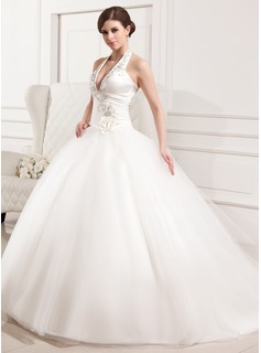 Ball-Gown Halter Chapel Train Satin Tulle Wedding Dress With Embroidered Ruffle Flower