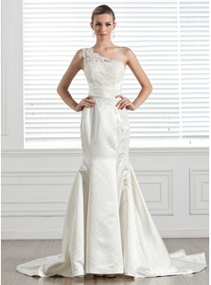 Trumpet/Mermaid One-Shoulder Chapel Train Satin Wedding Dress With Lace Beading