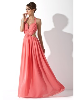 A-Line/Princess Halter Floor-Length Chiffon Prom Dress With Ruffle Beading (018020794)