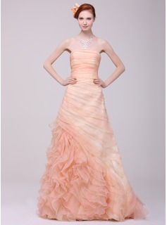 A-Line/Princess Strapless Sweep Train Organza Prom Dress With Ruffle Cascading Ruffles