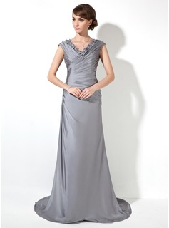 Sheath/Column V-neck Sweep Train Charmeuse Mother of the Bride Dress With Ruffle Lace