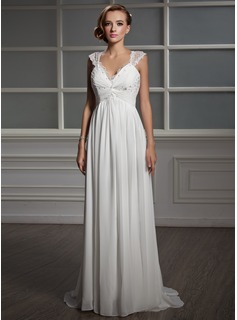 Empire V-neck Sweep Train Chiffon Tulle Wedding Dress With Ruffle Lace Beadwork