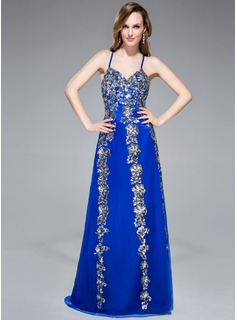 Trumpet/Mermaid V-neck Floor-Length Tulle Prom Dress With Appliques Sequins