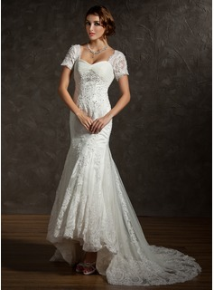 Mermaid Sweetheart Asymmetrical Satin Tulle Wedding Dress With Ruffle Lace Beadwork (002011616)