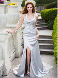 Trumpet/Mermaid Sweetheart Watteau Train Charmeuse Prom Dress With Ruffle Beading Split Front