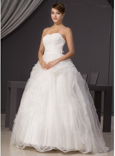 Ball-Gown Sweetheart Sweep Train Organza Satin Wedding Dress With Ruffle