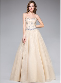 A-Line/Princess Sweetheart Floor-Length Organza Lace Prom Dress With Beading Sequins