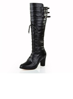 Real Leather Chunky Heel Pumps Closed Toe Knee High Boots With Zipper Lace-up shoes