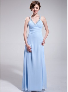 Empire V-neck Floor-Length Chiffon Evening Dress With Ruffle Beading
