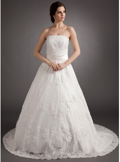 A-Line/Princess Strapless Court Train Satin Lace Wedding Dress With Sashes Beadwork (002012218)