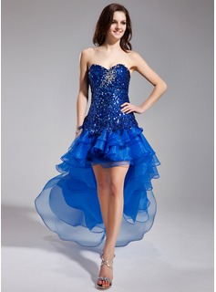 A-Line/Princess Sweetheart Asymmetrical Organza Sequined Prom Dress With Beading Cascading Ruffles