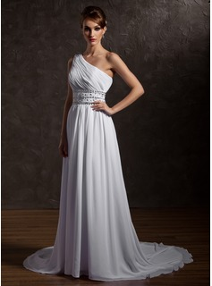 A-Line/Princess One-Shoulder Court Train Chiffon Wedding Dress With Ruffle Beadwork (002012661)