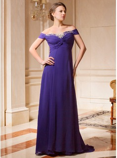 A-Line/Princess Off-the-Shoulder Sweep Train Chiffon Mother of the Bride Dress With Ruffle Beading