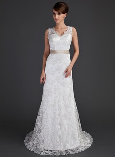 Sheath/Column V-neck Court Train Charmeuse Lace Wedding Dress With Sashes Beadwork
