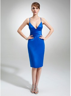 Sheath V-neck Knee-Length Satin Cocktail Dress (016022558)