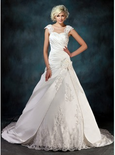 Ball-Gown Sweetheart Chapel Train Satin Tulle Wedding Dress With Ruffle Lace Beading Flower