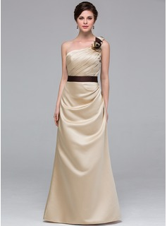 A-Line/Princess One-Shoulder Floor-Length Satin Bridesmaid Dress With Sash Flower