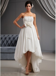 A-Line/Princess Strapless Asymmetrical Taffeta Wedding Dress With Lace Flower(s) Bow(s)