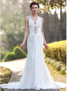 Sheath/Column V-neck Chapel Train Chiffon Wedding Dress With Ruffle Beadwork Sequins