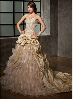 Ball-Gown Sweetheart Cathedral Train Taffeta Organza Wedding Dress With Ruffle Beadwork Flower(s)